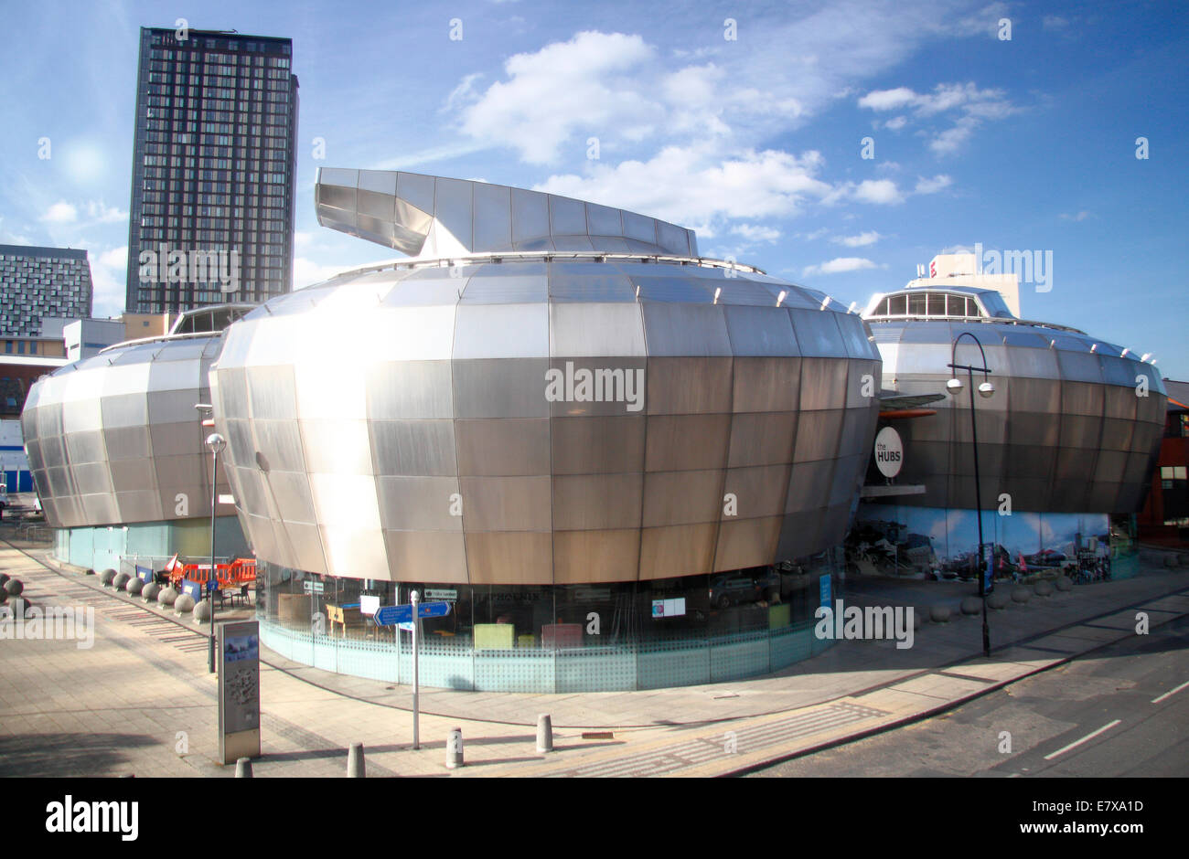 The Hubs, Sheffield Hallam University's iconic student union building in the Cultural Industries Quarter of - Stock Image