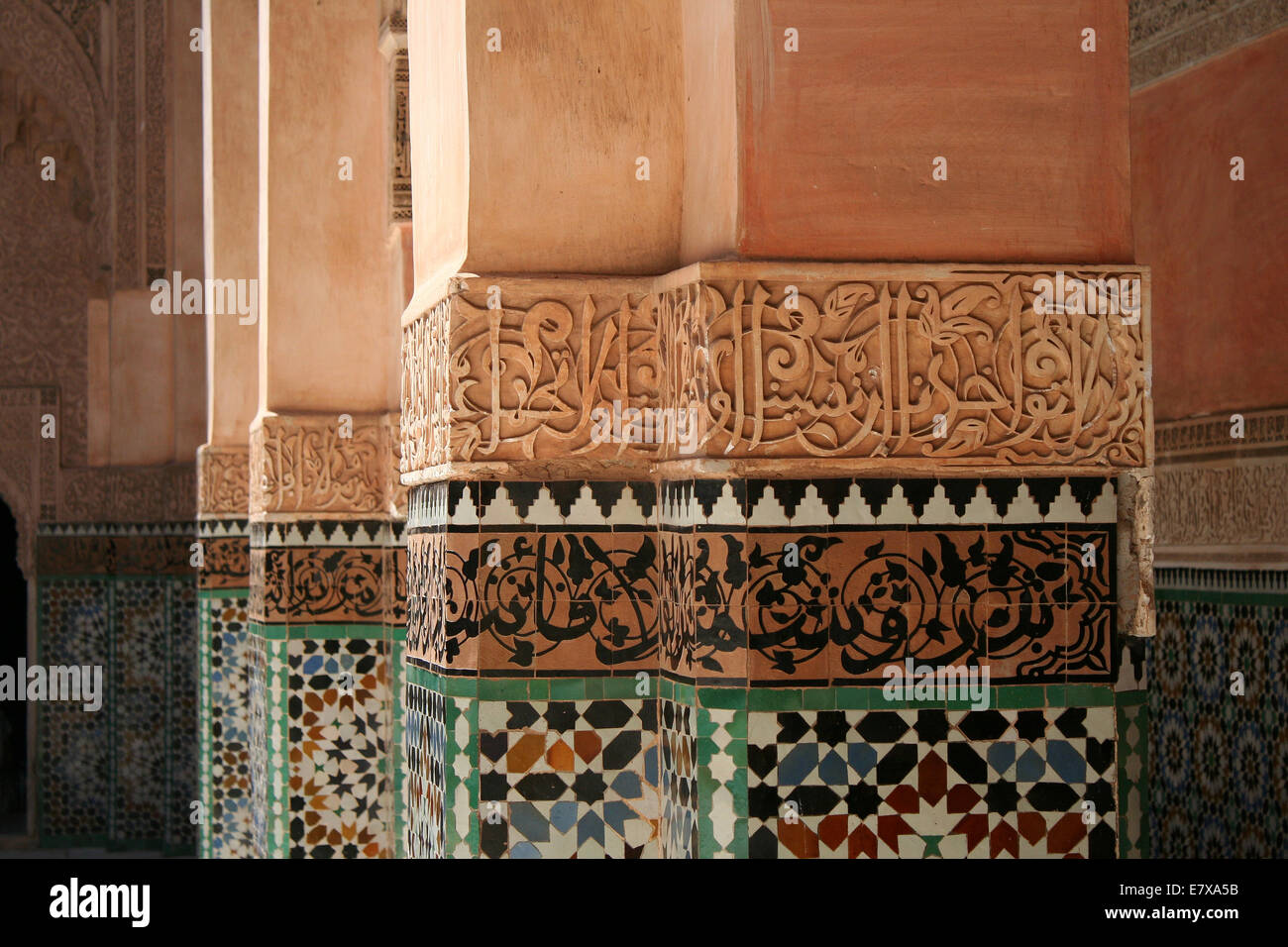 Inscription on the Pillars at Ben Youssef Madrasa in Marrakesh, Morocco - Stock Image
