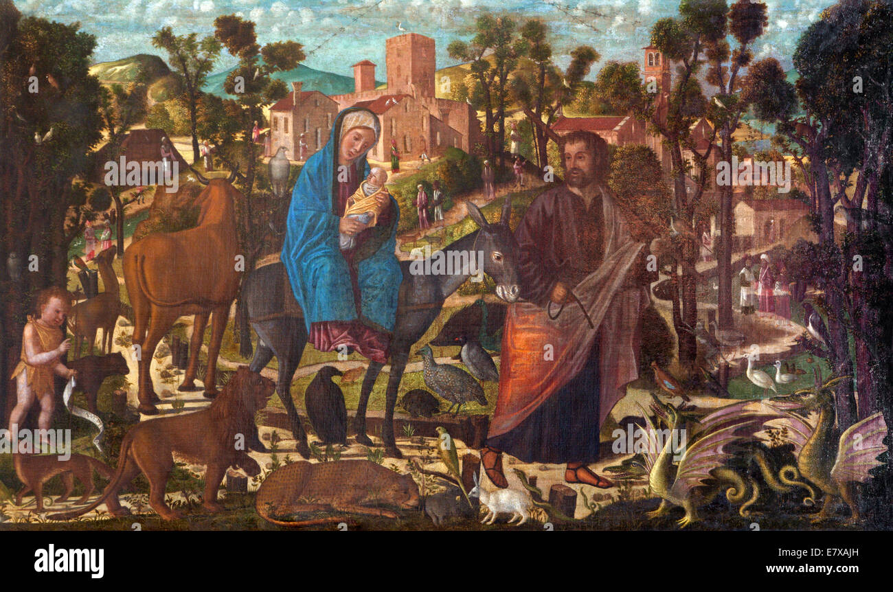 VENICE, ITALY - MARCH 13, 2014: The Fly to Egypt paint by Giovanni Manuseti from 14. cent. in church of San Martin - Stock Image