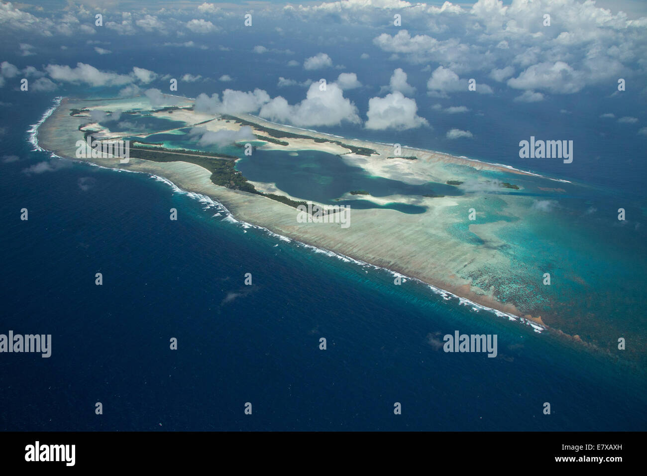 Aerial view of Palmyra Atoll an unoccupied island in the equatorial Northern Pacific administered by the United - Stock Image