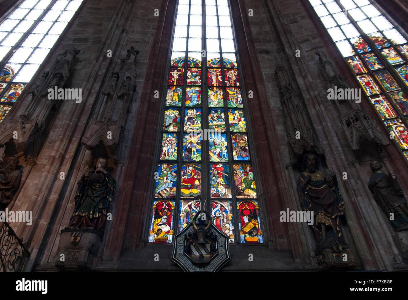 Old Church Window Sebalduskirche Nuremberg Germany Stock Photo