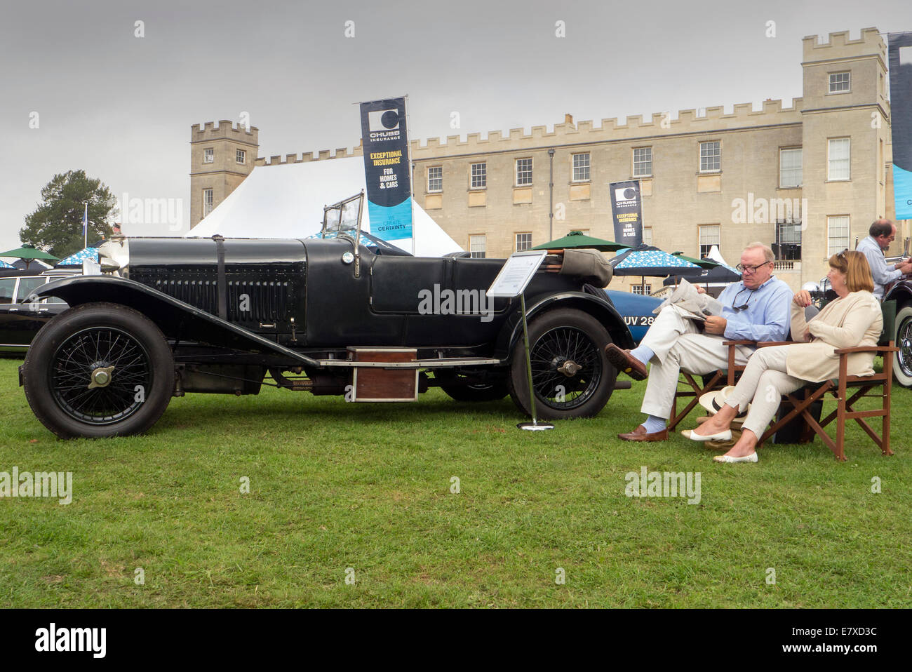 Vintage Bentley owners at Salon Prive auto show 2014 - Stock Image