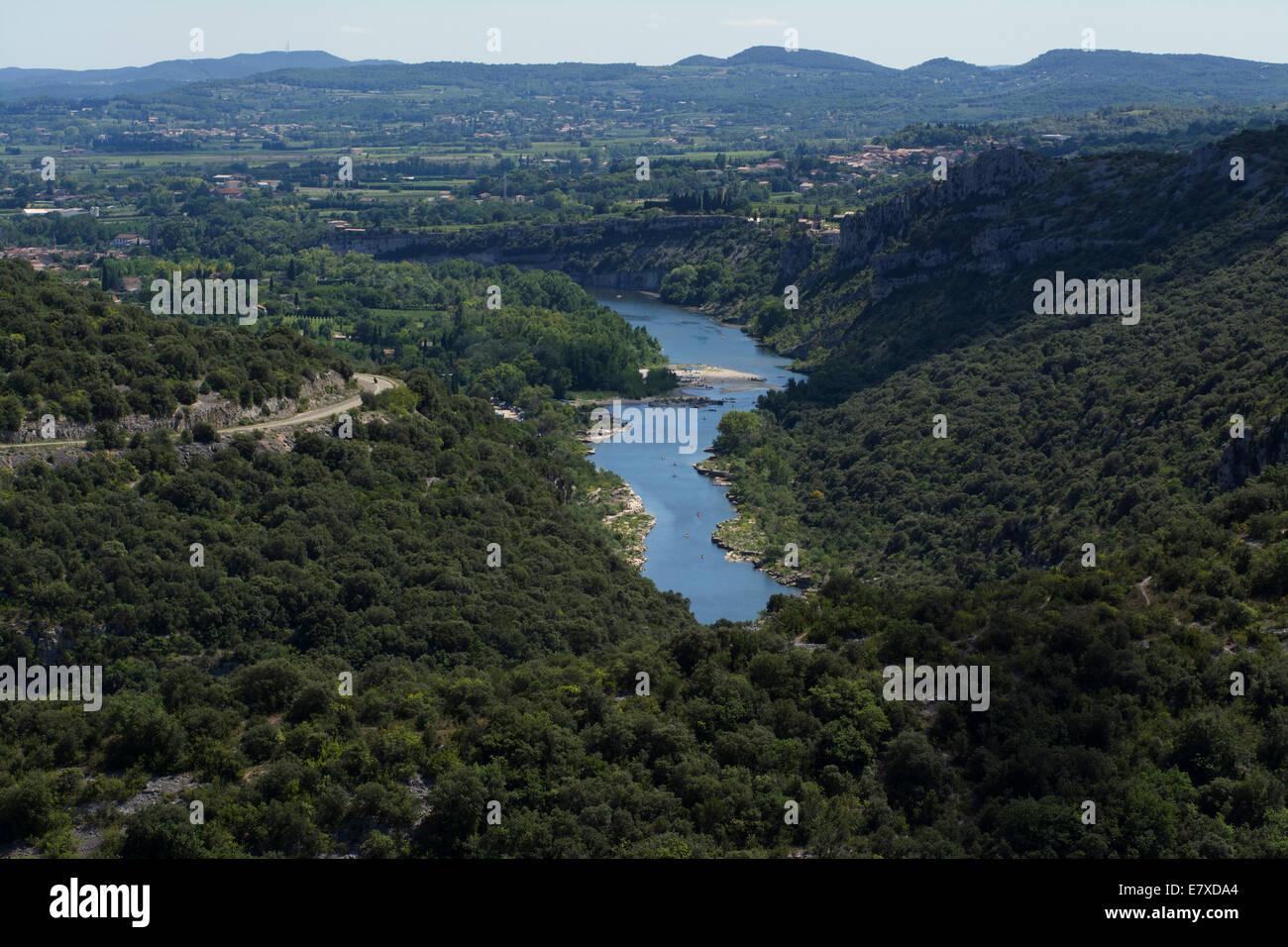 River Ardeche near village of Aigueze, Gard, languedoc-Roussillon, France, Europe. - Stock Image