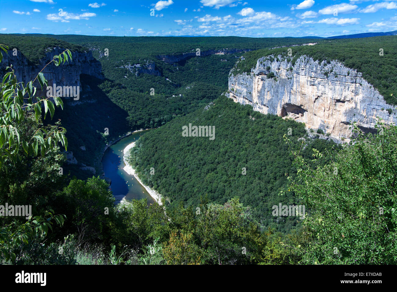 Panorama of the Gorges de l'Ardeche, Ardeche, Rhone-Alpes, France, Europe - Stock Image