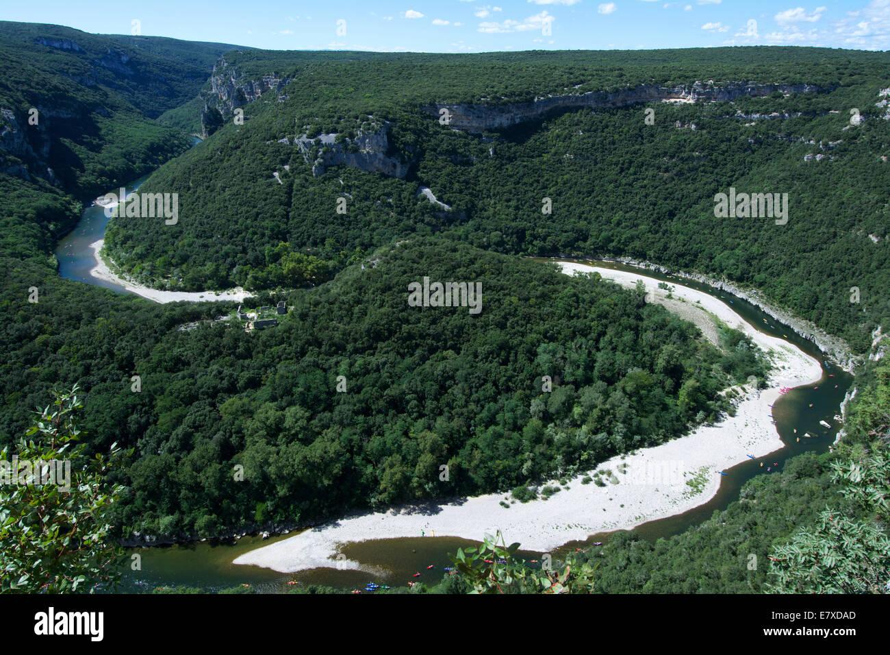 Meander, Gorges de l'Ardeche, Ardeche, Rhone-Alpes, France, Europe - Stock Image