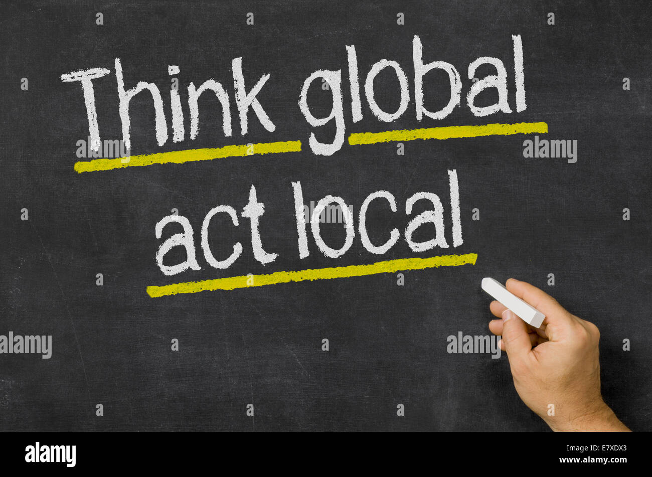 Think global - act local - Stock Image