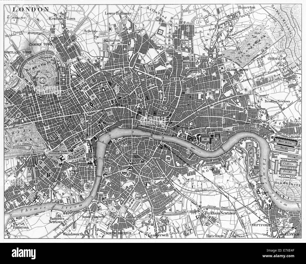 Engraved illustrations of the Map of London, England from Iconographic Encyclopedia of Science, Literature and Art, - Stock Image
