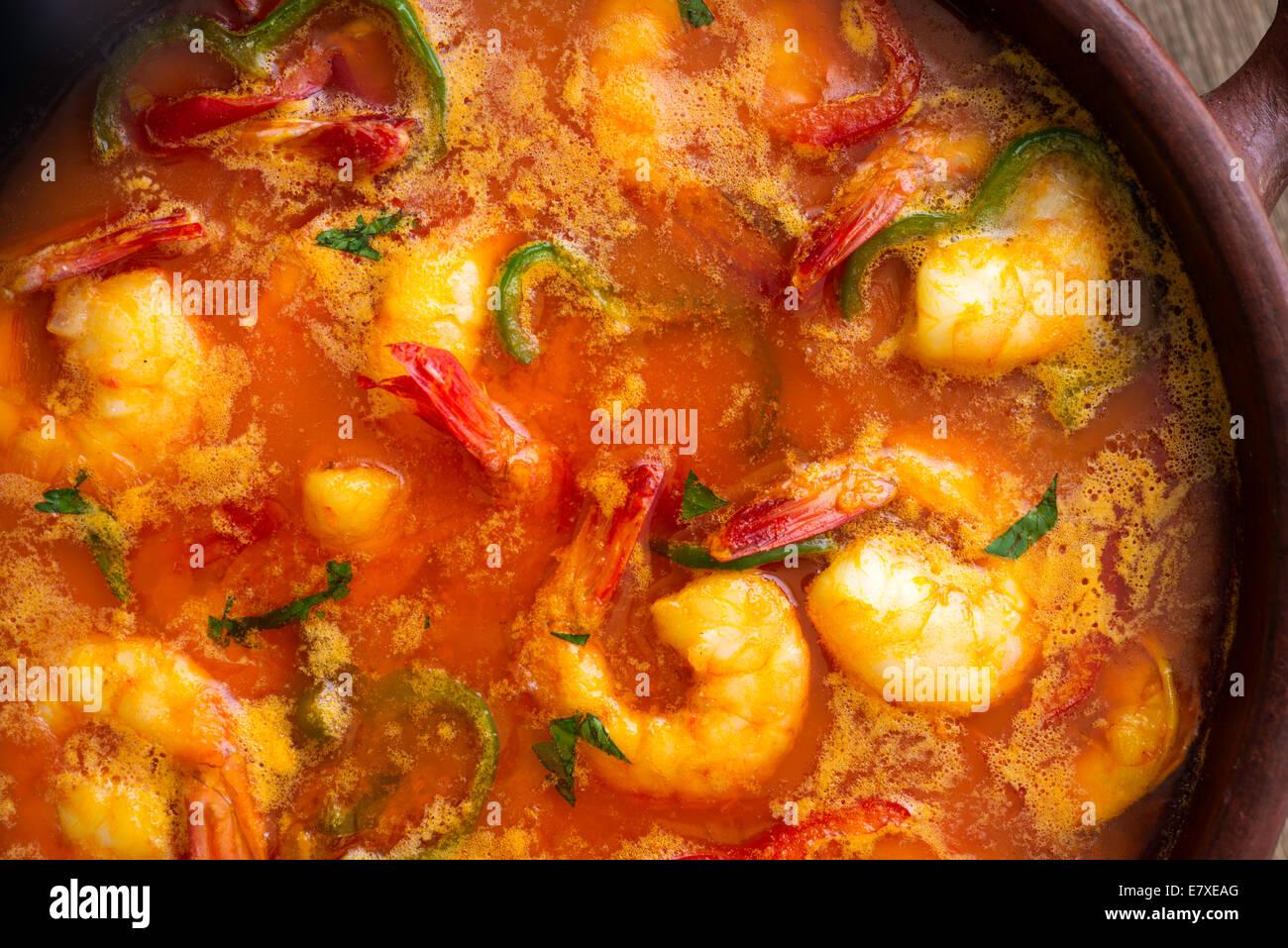 Moqueca of shrimps, Brazilian dish - Stock Image