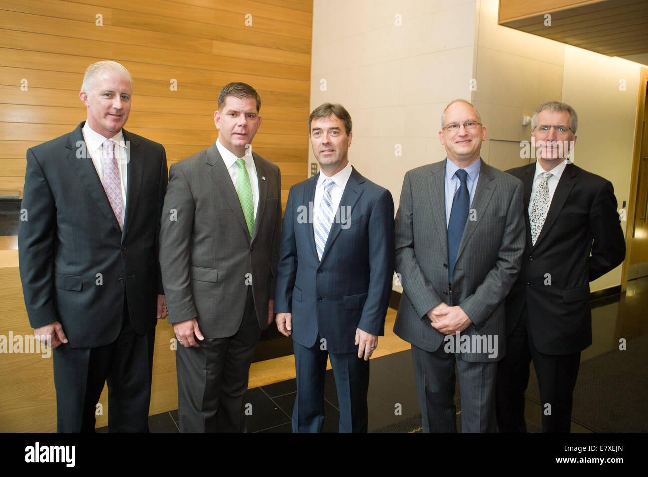 Belfast, Ireland. 25th September, 2014. Mayor of Boston Martin J Walsh (2nd Left) visited Liberty IT in Belfast - Stock Image