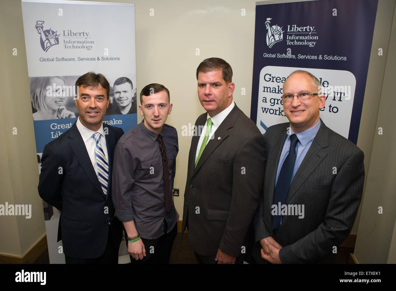 Belfast, Ireland. 25th September, 2014. Boston Mayor Marty Walsh,William Hamilton, Managing Director, Liberty IT - Stock Image
