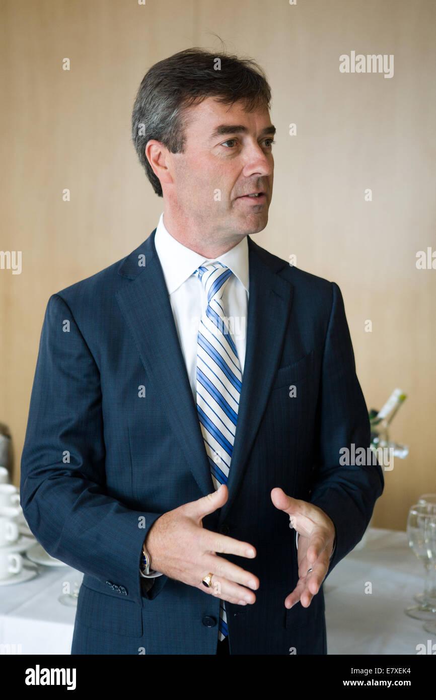 Belfast, Ireland. 25th September, 2014. James McGlennon, Executive Vice President and CIP, Liberty Mutual Insurance - Stock Image
