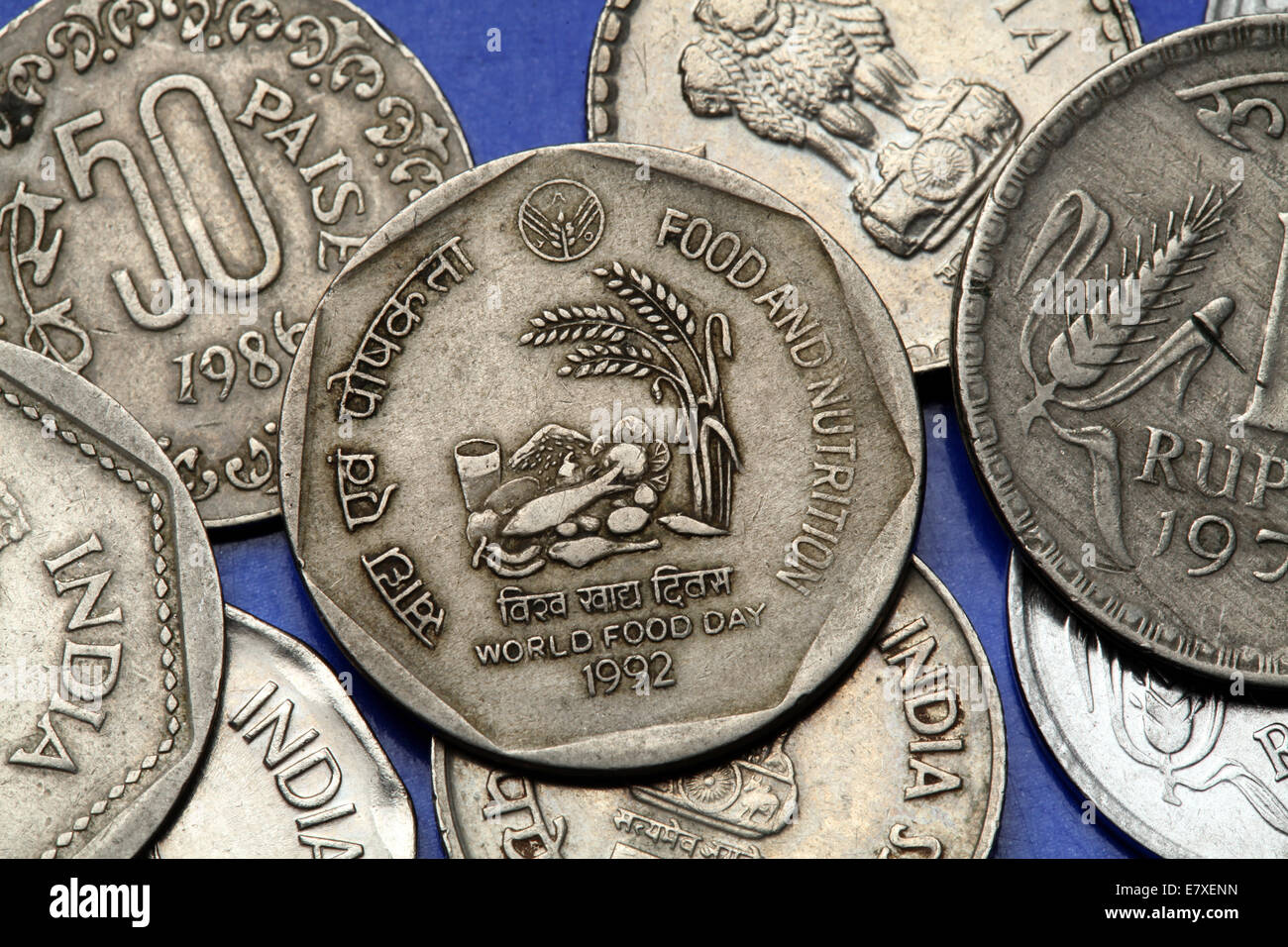 Coins of India. Indian one rupee coin from 1992 dedicated to World Food Day. - Stock Image