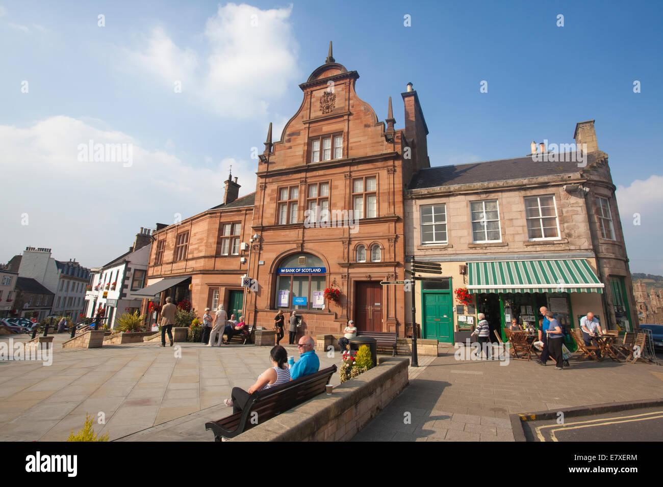 Market Square, Melrose pretty market town in the Scottish Borders, Roxburghshire, Scotland, United Kingdom - Stock Image