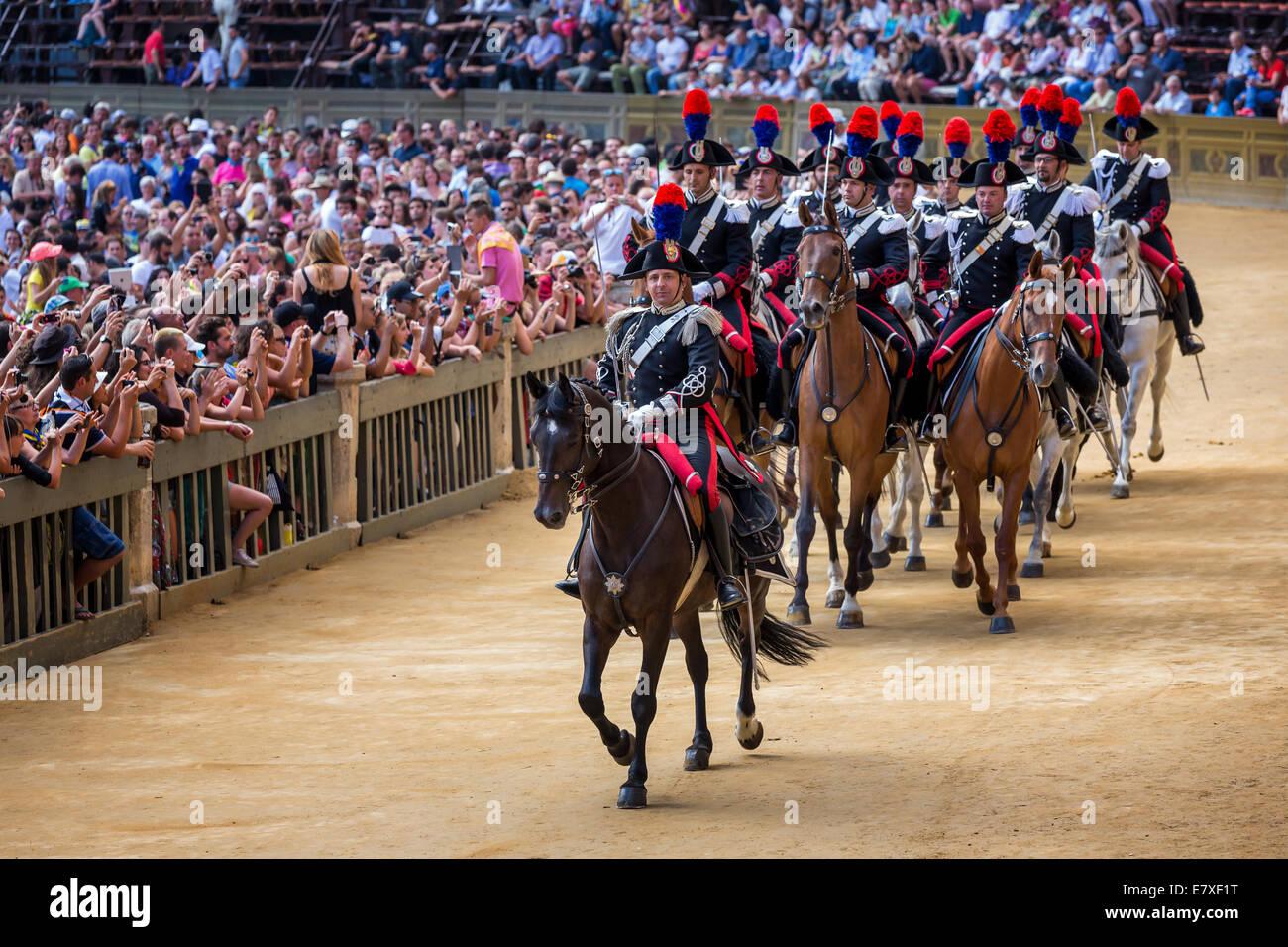 Cavalry parade by the carabinieri, Palio di Siena, historical parade, Siena, Tuscany, Italy - Stock Image