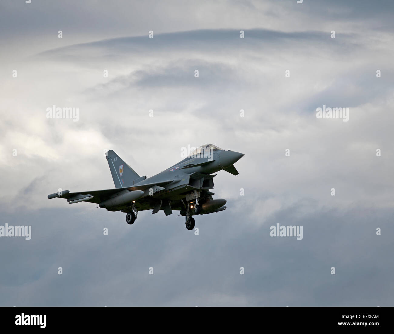 Retrurning to base 1 Squadron Eurofightr Typhoon FRG4 at RAF Lossiemouth, Moray.  SCO 9120 - Stock Image