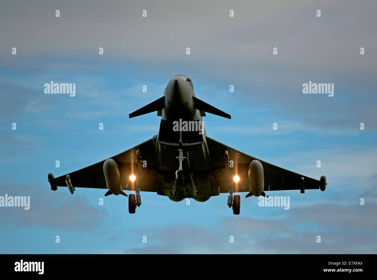Eurofighter Typhoon returning from a North Sea Sortie to its home base at RAF Lossiemouth, Moyayshire.  SCO 9121 - Stock Image