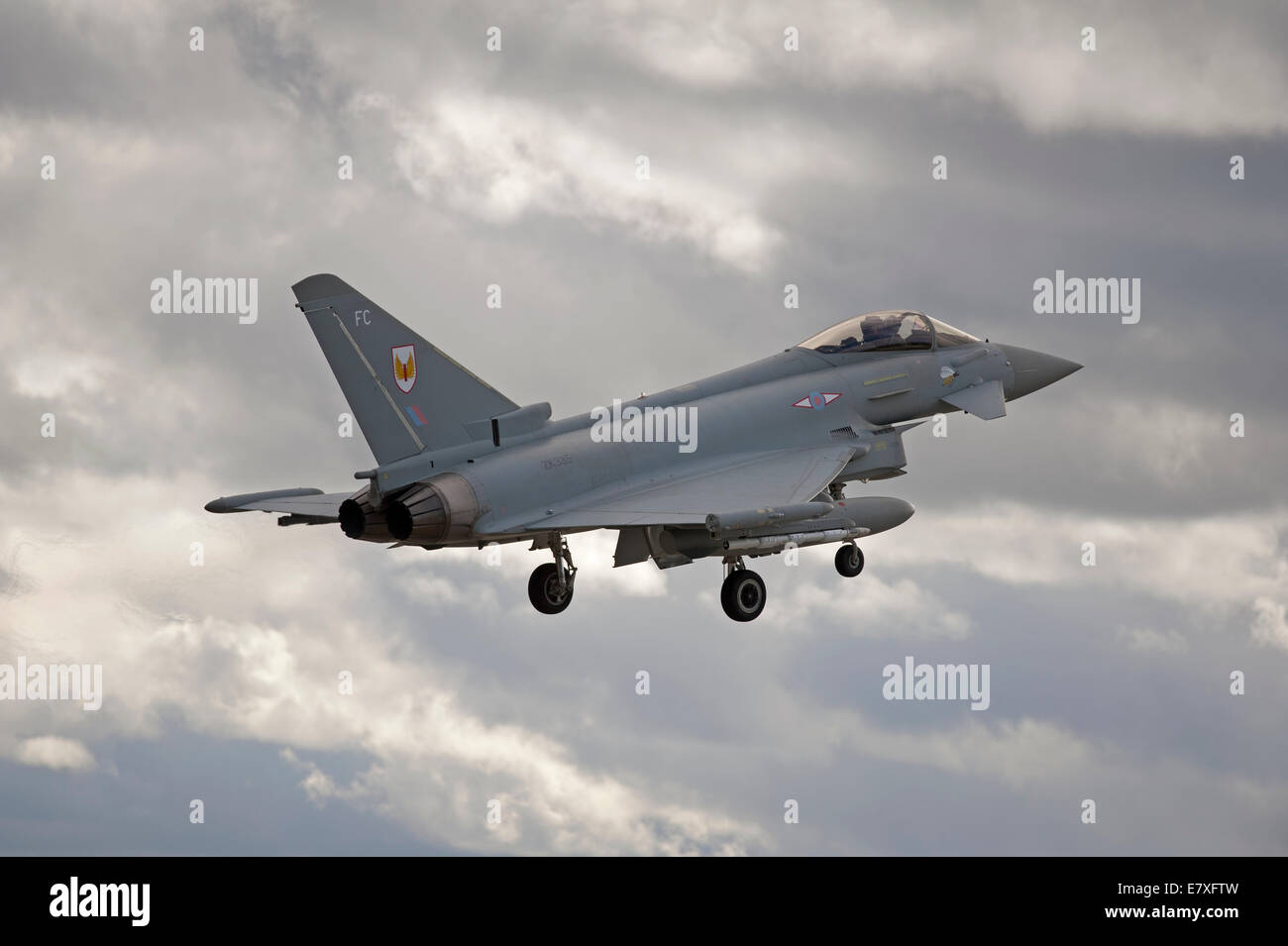 Eurofighter Typhoon FRG4 on approach to RAF Lossiemouth, Morayshire.  SCO 9131 Stock Photo