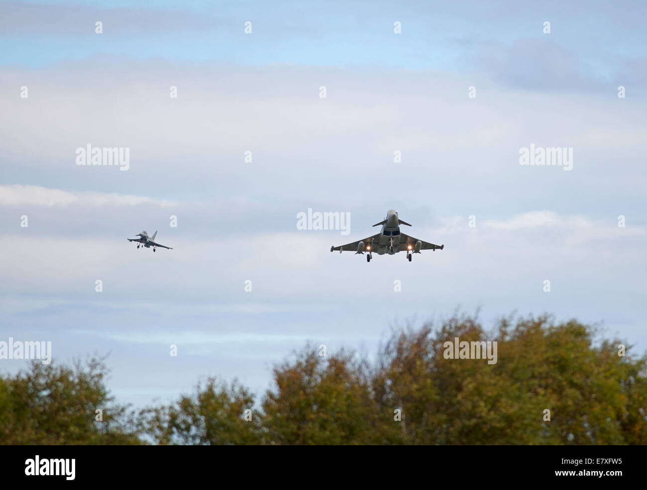 Eurofighter Typhoons FRG4 on approach to RAF Lossiemouth, Morayshire.  SCO 9132 Stock Photo