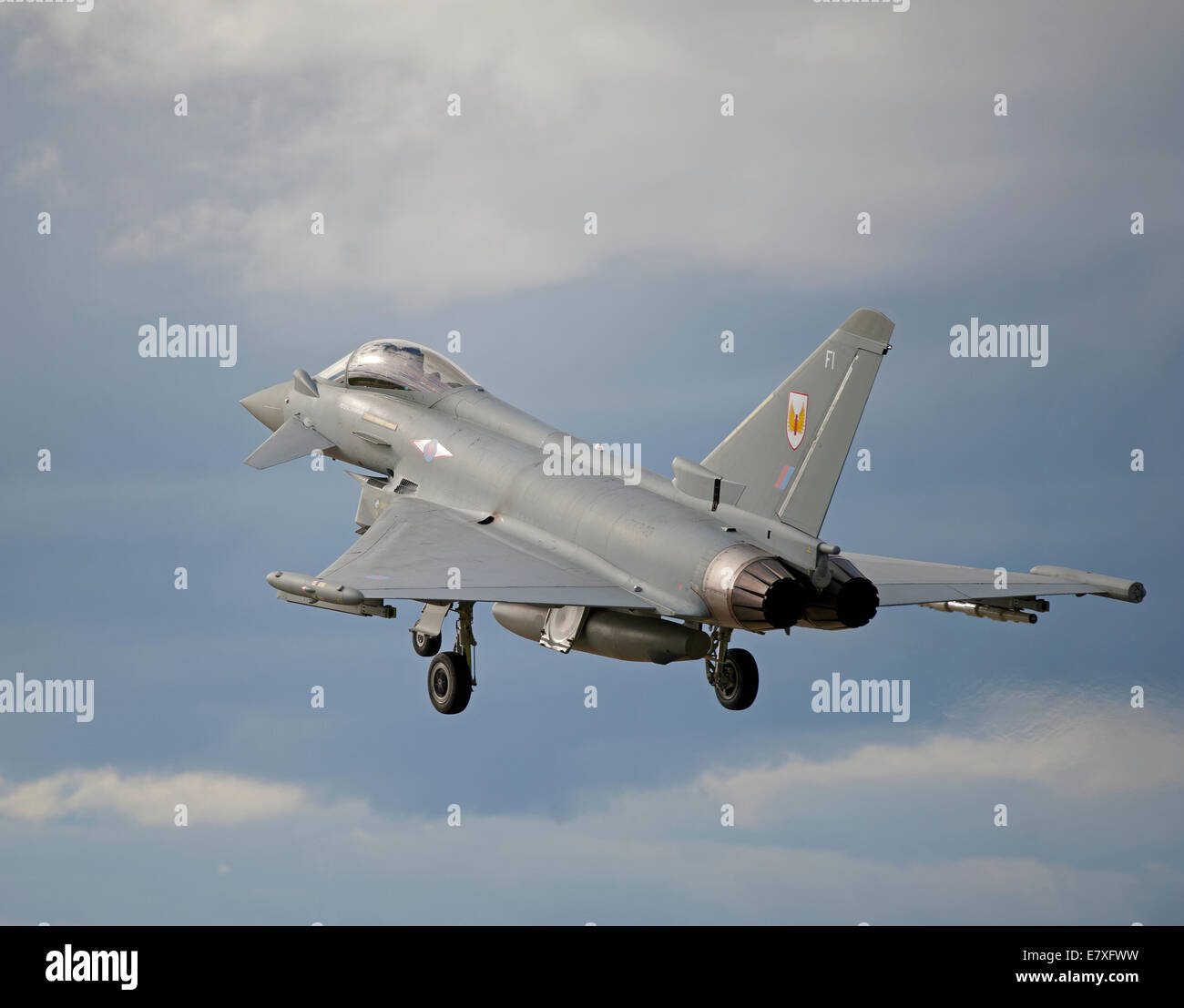 Eurofighter Typhoon FRG4 on approach to RAF Lossiemouth, Morayshire.  SCO 9134 Stock Photo