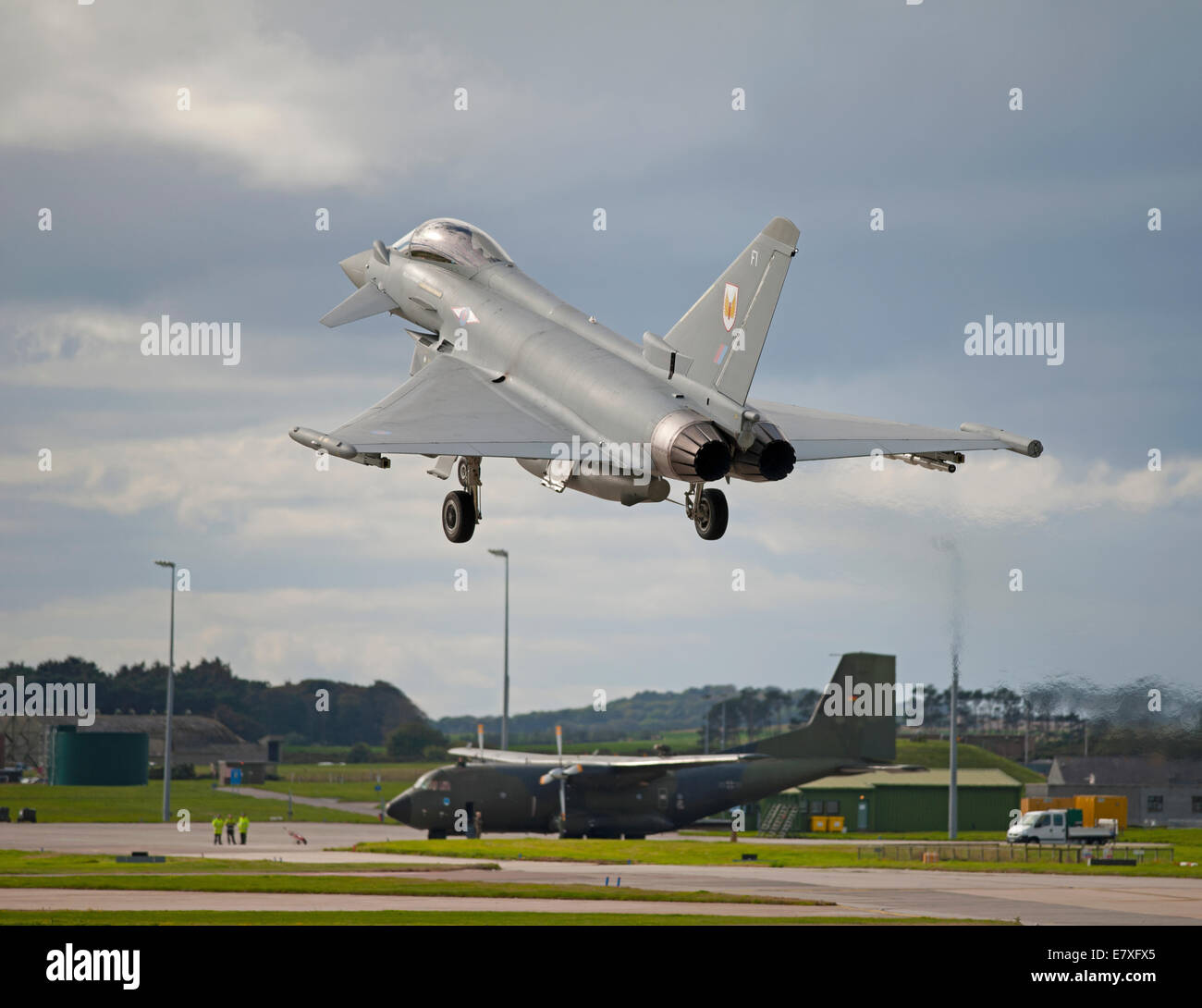 Eurofighter Typhoon FRG4 on approach to RAF Lossiemouth, Morayshire.  SCO 9135 - Stock Image