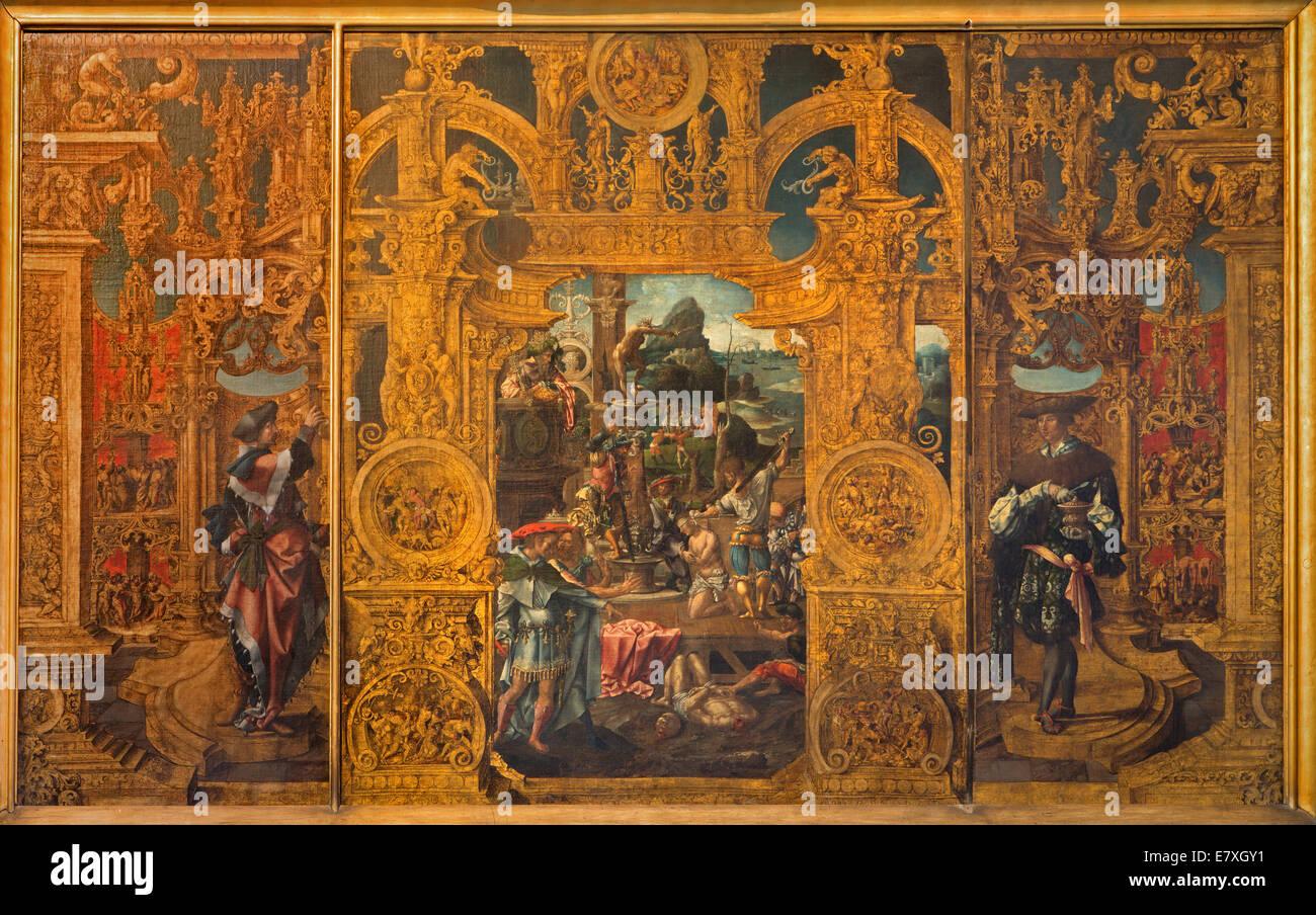 BRUGES, BELGIUM - JUNE 12, 2014: The Legenda of st. Cosmas and Damian in st. Jacobs church (Jakobskerk) by Lanceloot - Stock Image
