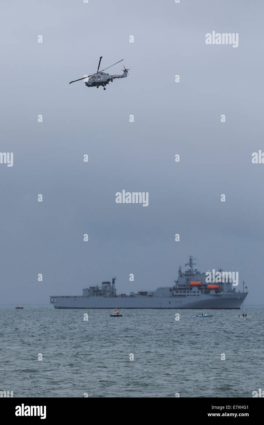 RFA Argus in Bournemouth Harbour as part of the 2014 Bournemouth Air Festival - Stock Image