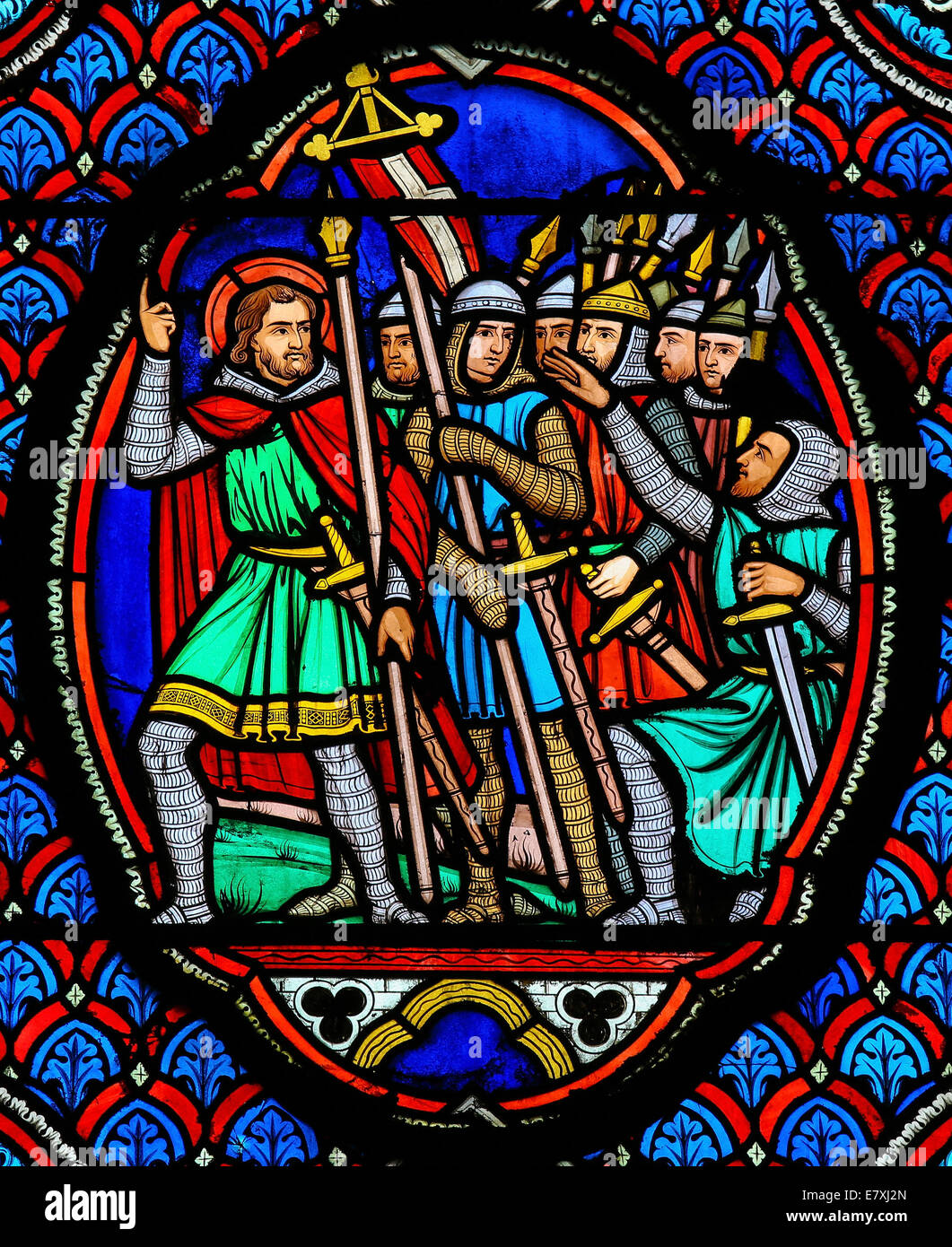 Stained glass window depicting Crusaders in the Cathedral of Tours, France. - Stock Image