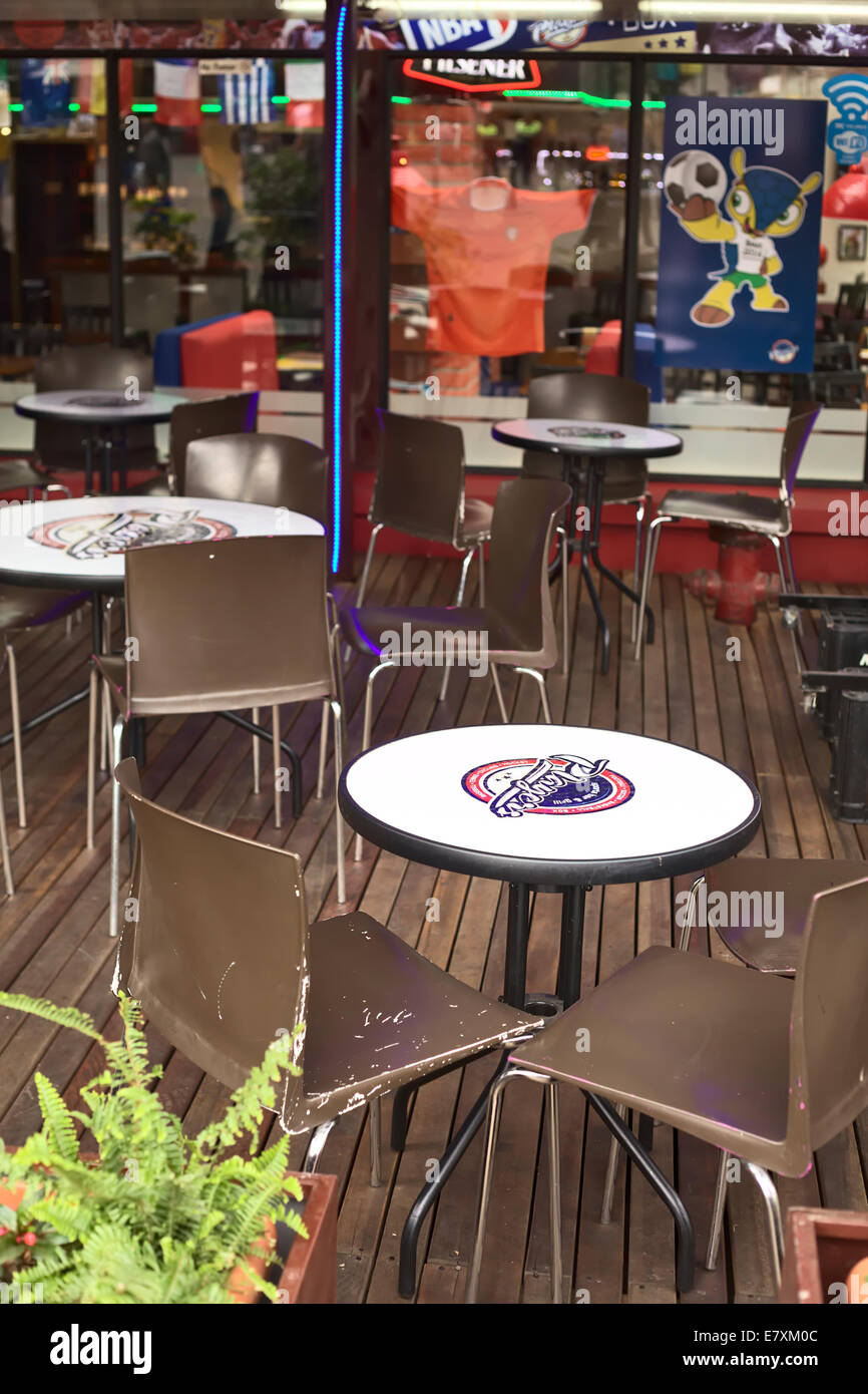 Outdoor tables with chairs of players sports bar and grill on plaza outdoor tables with chairs of players sports bar and grill on plaza foch in the tourist district la mariscal in quito ecuador watchthetrailerfo