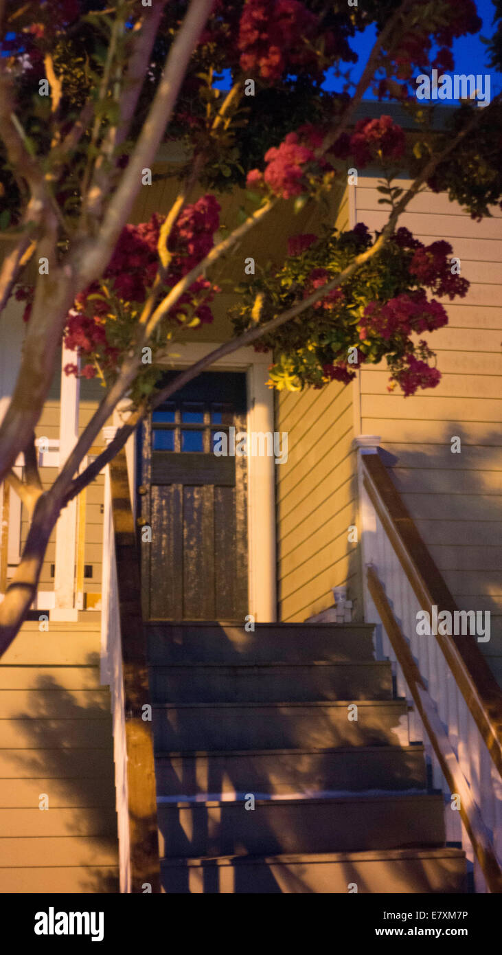 Shadowy steps to doorway - Stock Image