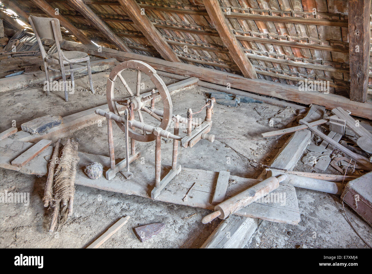 old barrel organ on the billet of village house in Slovakia - Stock Image