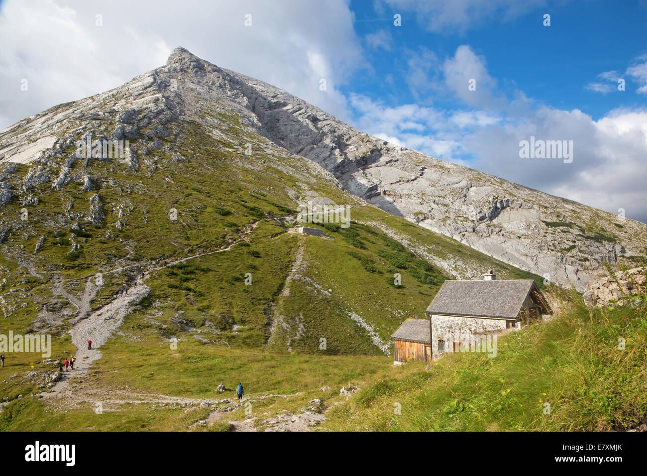 Alps - Watzmann peak from Watzmannhaus chalet - Stock Image
