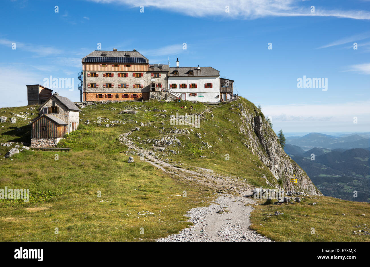 Alps - Chalet Watzmannhaus in the north calcite alps - Bavaria - Germany - Stock Image
