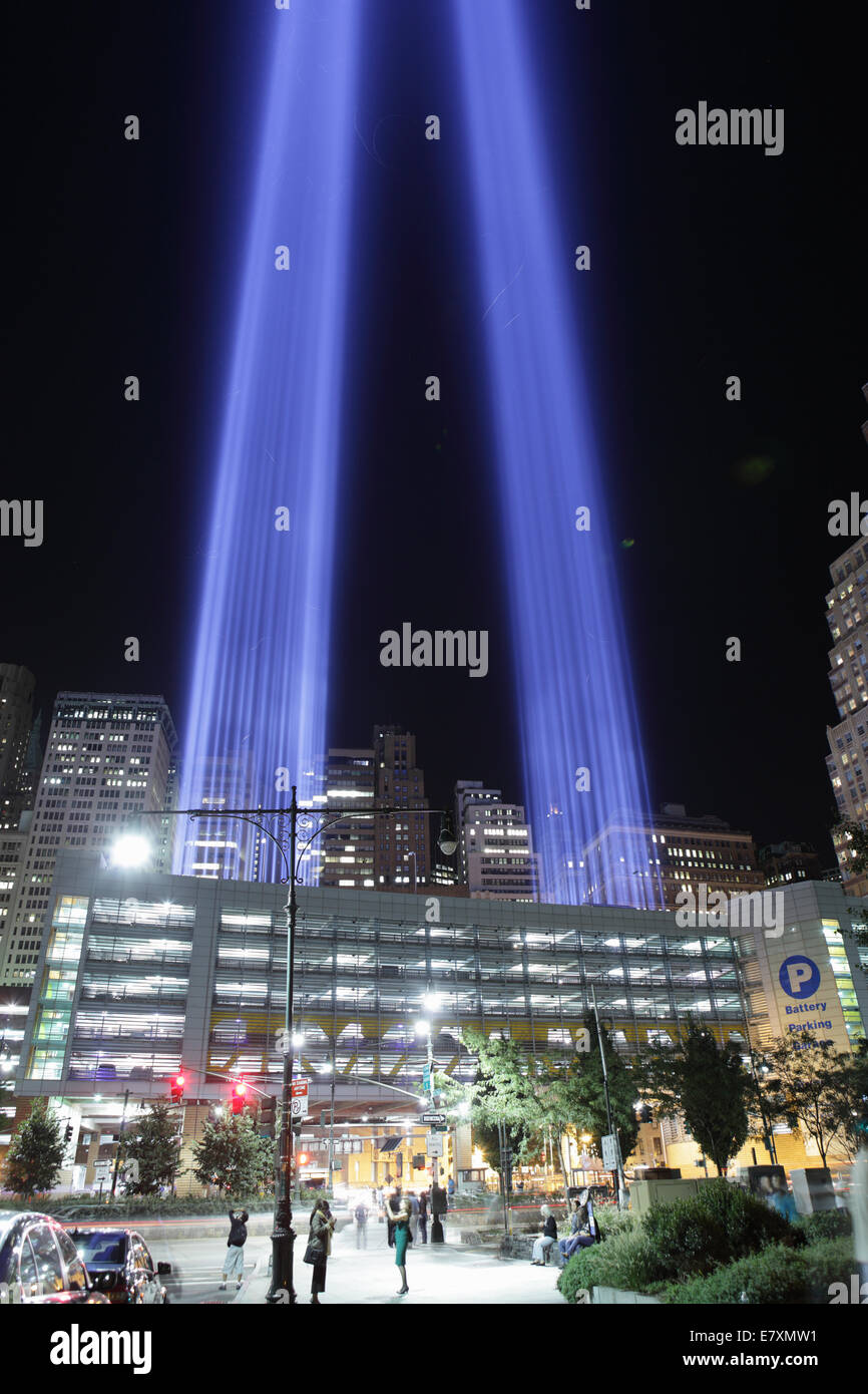 September 11 Tribute in Light 2012 viewed from the Hudson River walk. Stock Photo