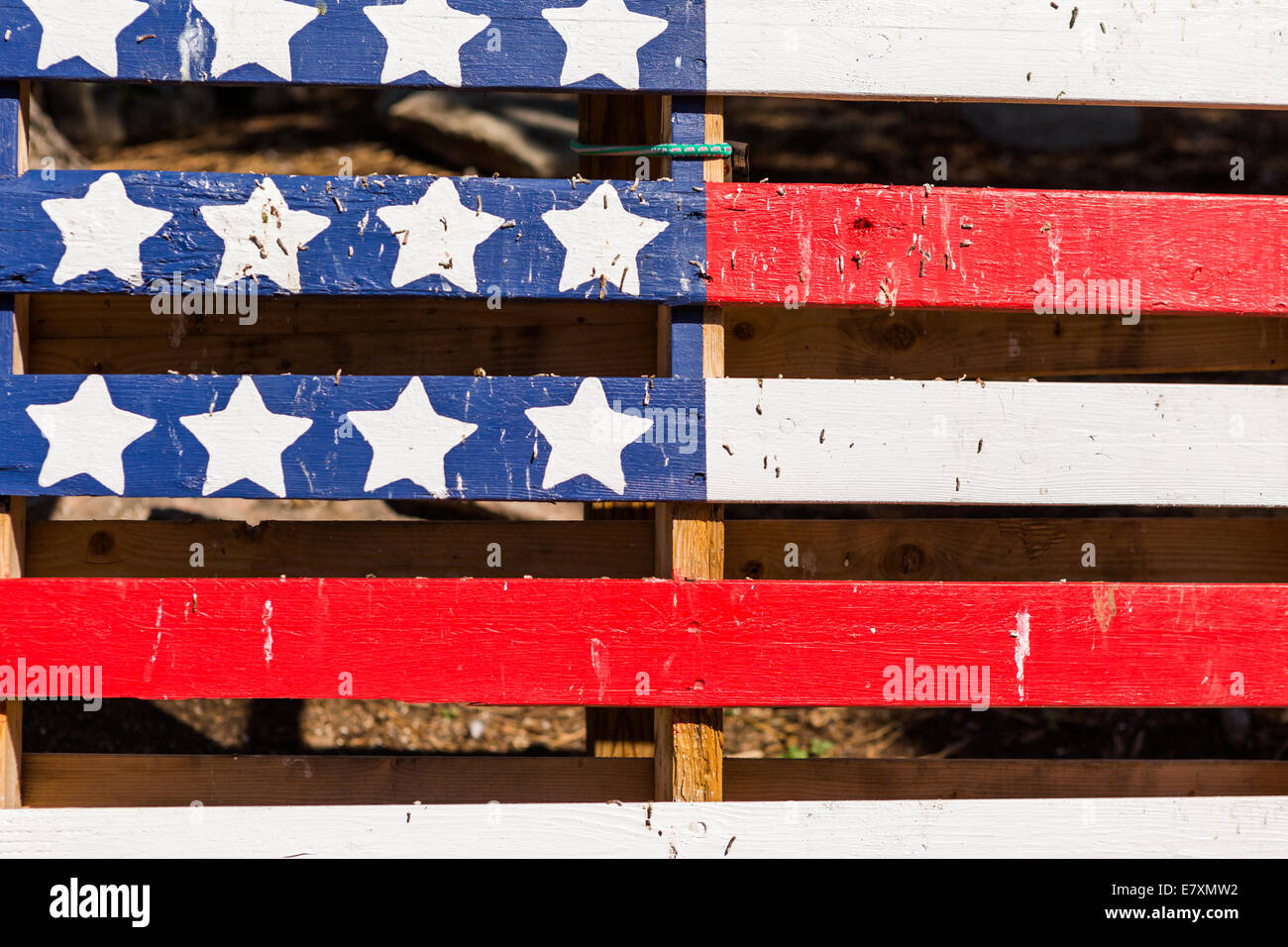 American Flag Painted On Top Of Old Wood Pallet