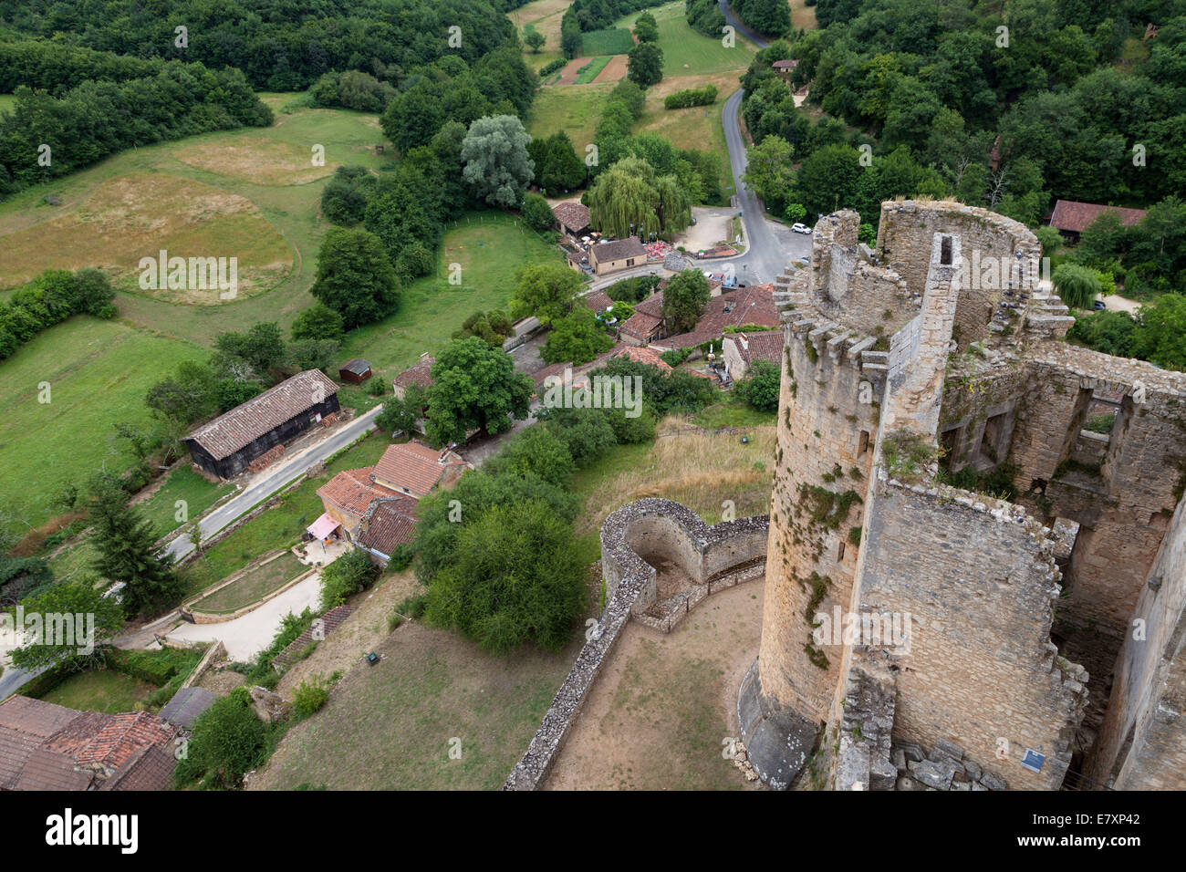 a view of the French countryside from high atop the Bonaguil Castle, Fumel France, an example of historic military - Stock Image