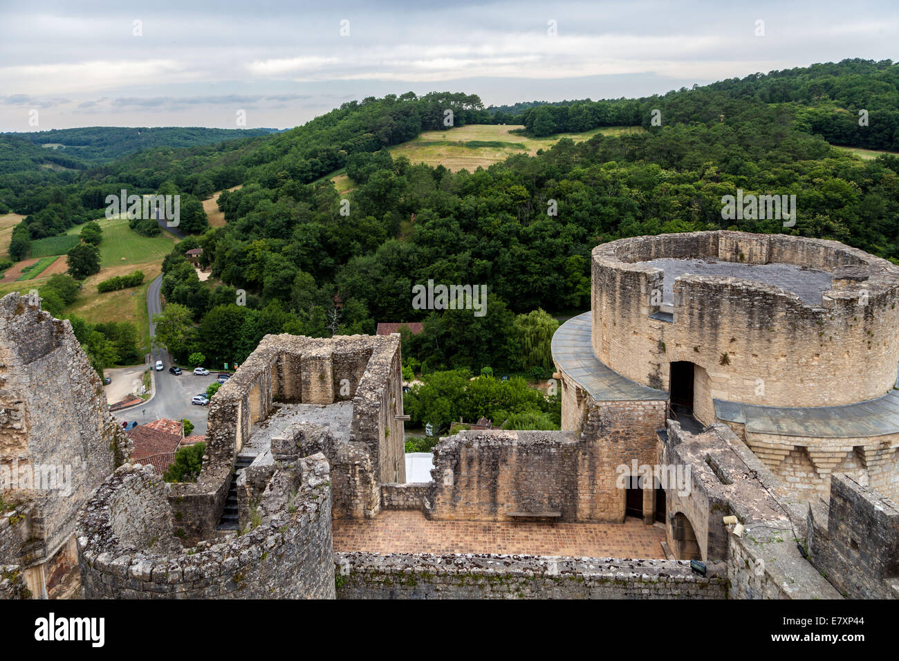 The countryside is visible from the historic Bonaguil Castle, Fumel France, an example of French military architecture - Stock Image