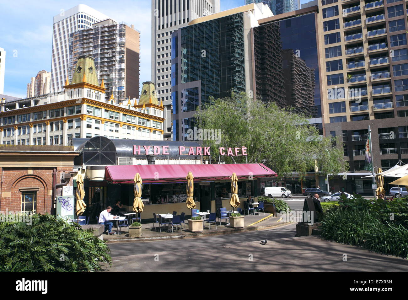 hyde park and its cafe coffee shop in Sydney city centre, bounded by elizabeth and college streets, Sydney,Australia - Stock Image