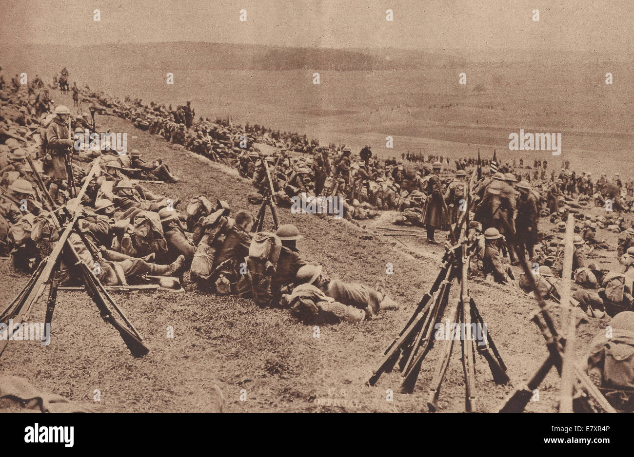 If the Germans hadn't signed the Peace Treaty, the Allies were fully prepared to advance, end of World War I - Stock Image