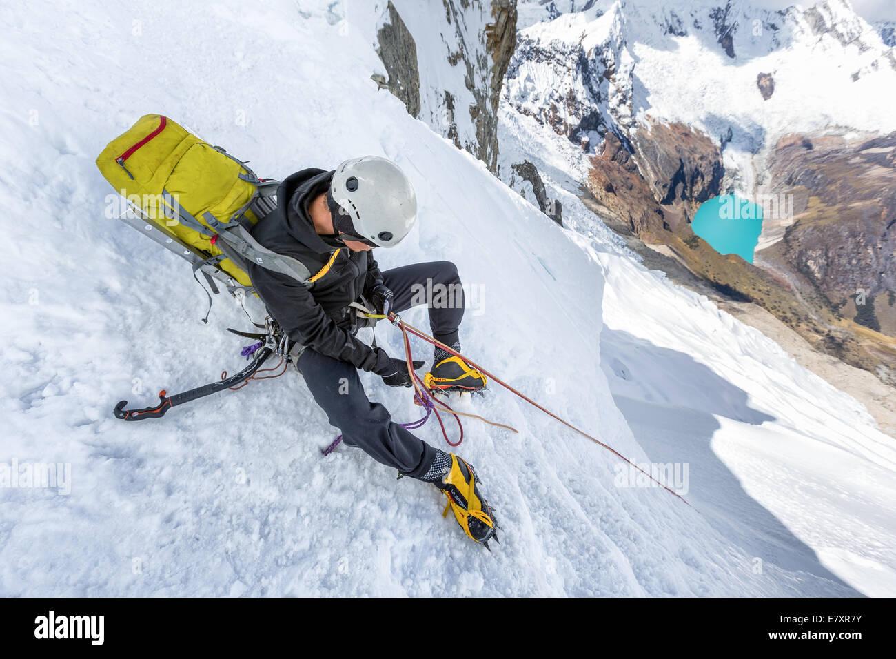 Preparing for rappelling, Santa Cruz valley, Cordillera Blanca, Peru, South America - Stock Image