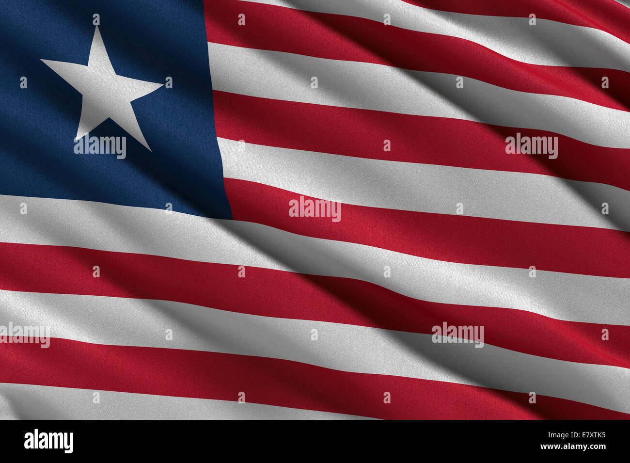 Flag of Liberia waving in the wind - Stock Image