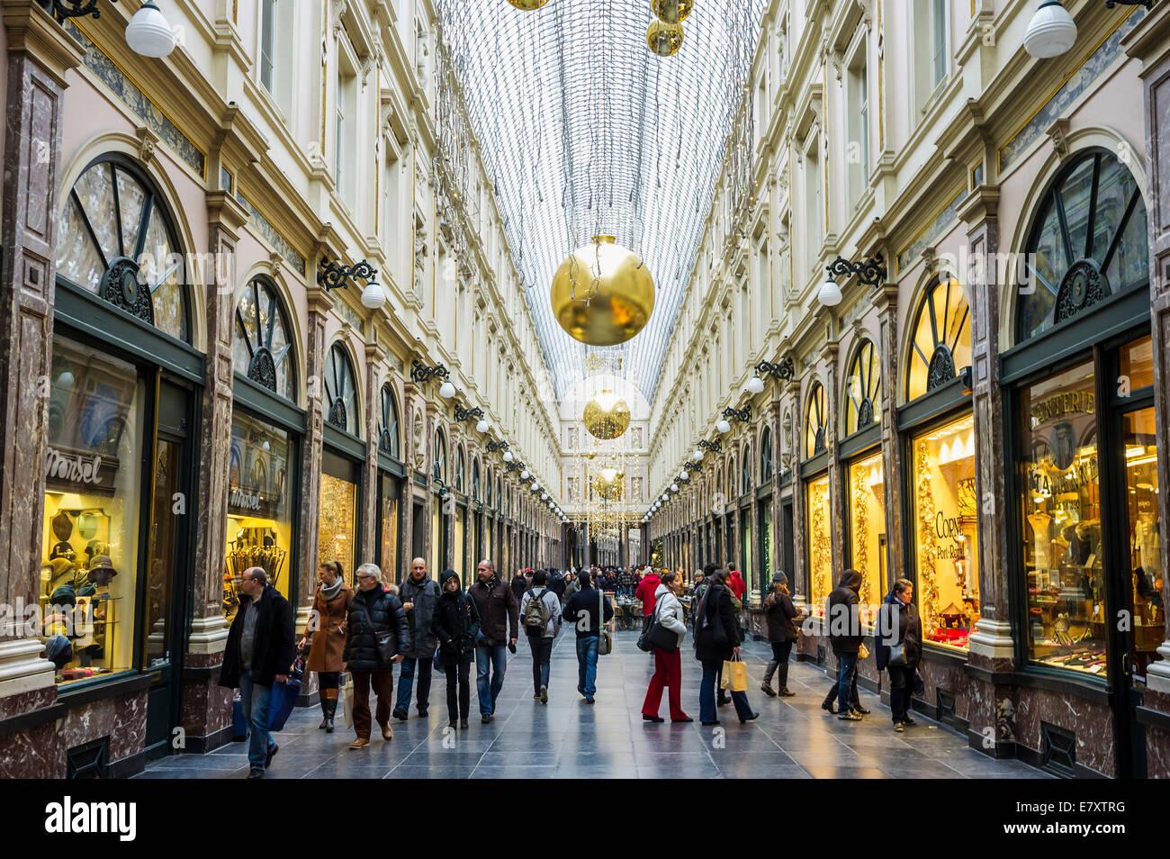 Les Galeries Saint Hubert, Brussels, Belgium - Stock Image