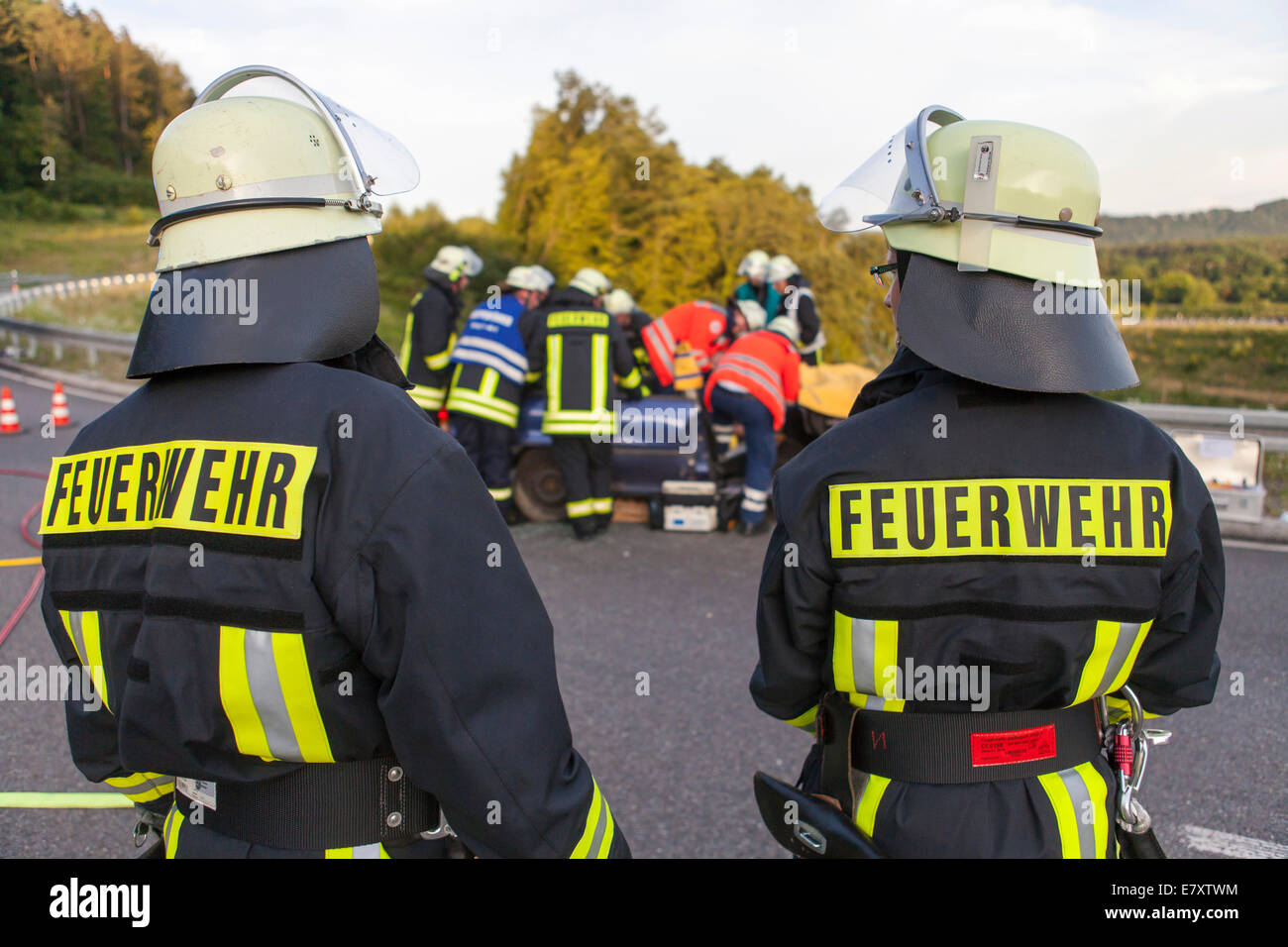 Joint training exercise of the Bad Säckingen and Murg volunteer fire brigades and the German Red Cross of Bad - Stock Image