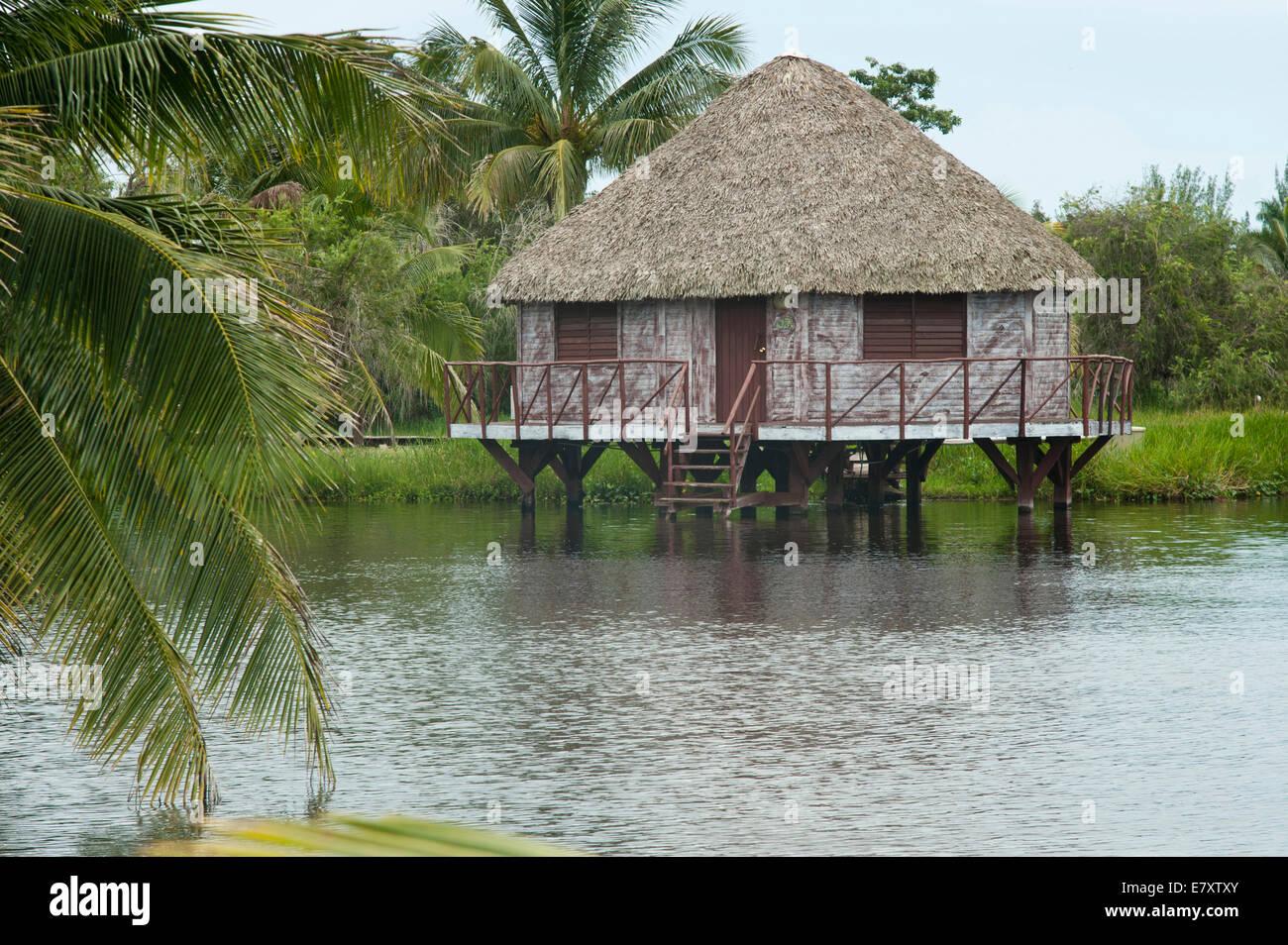 Stilt house in the lake of Lago de Tesoro, Guamá mangrove swamps, Santiago de Cuba Province, Cuba - Stock Image