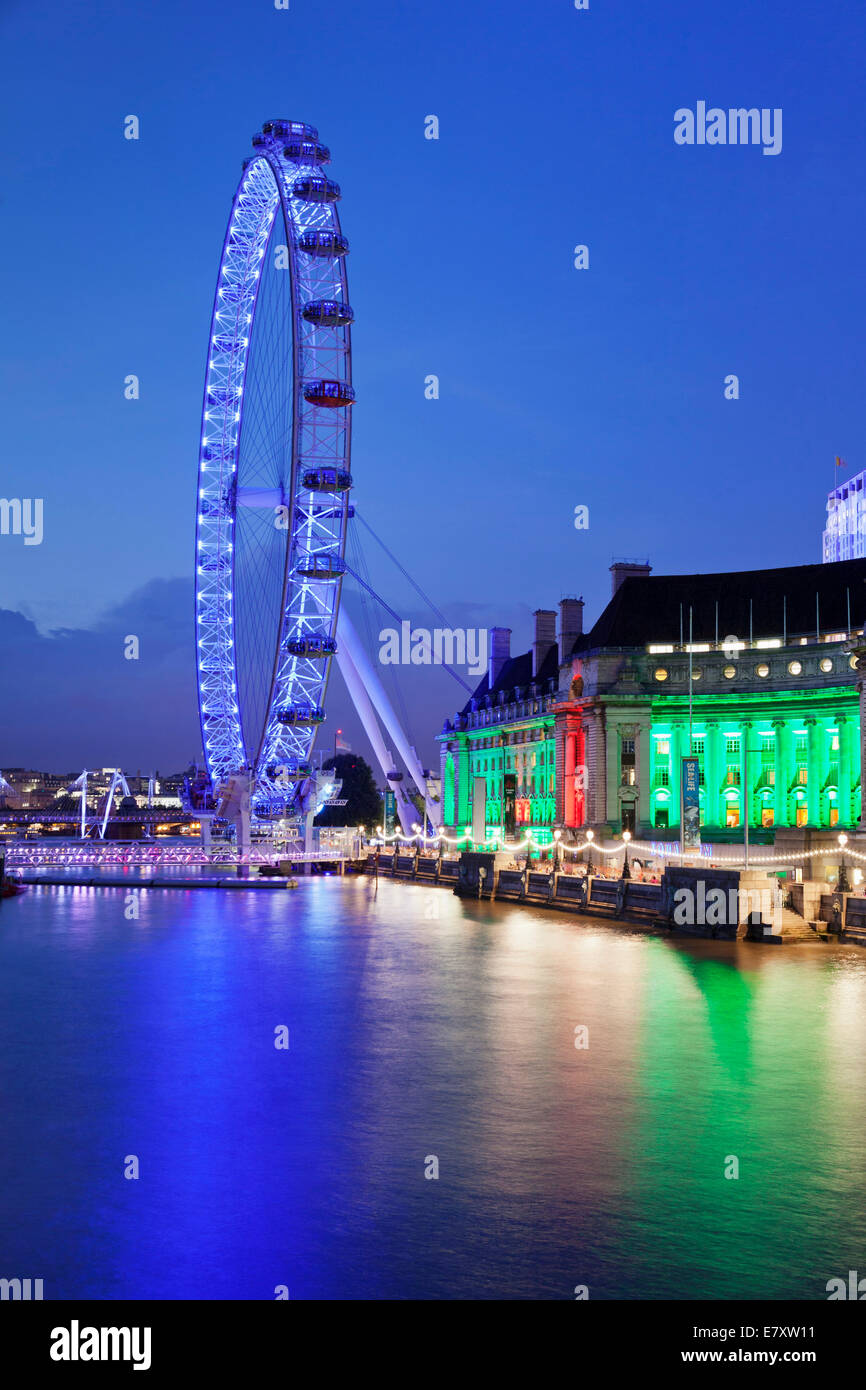 London Eye ferris wheel and County Hall, London Aquarium on the River Thames, South Bank, London, England, United - Stock Image