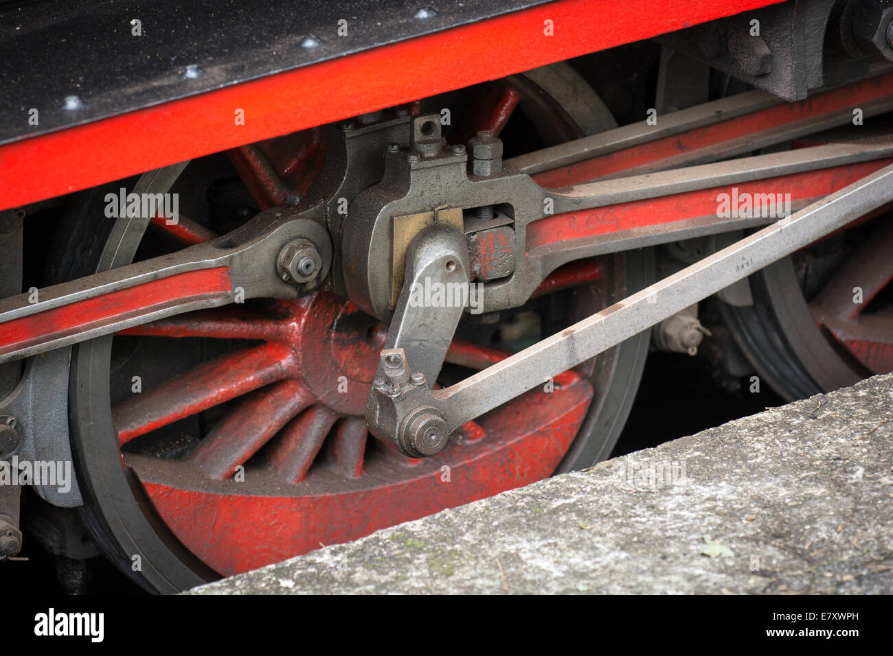 Wheels of a Vintage Steam Train Stock Photo