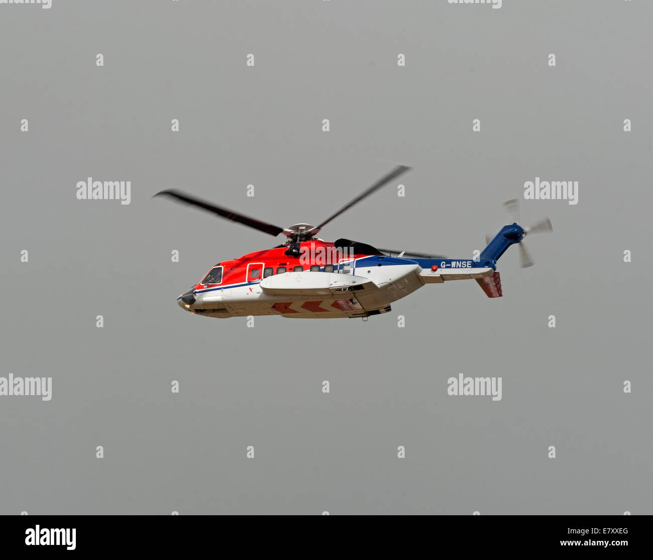 CHC Scotia Sikorsky S-92A G-WSNE working out of Aberdeen Dyce airport for Oil Field Worker Transfer - Stock Image
