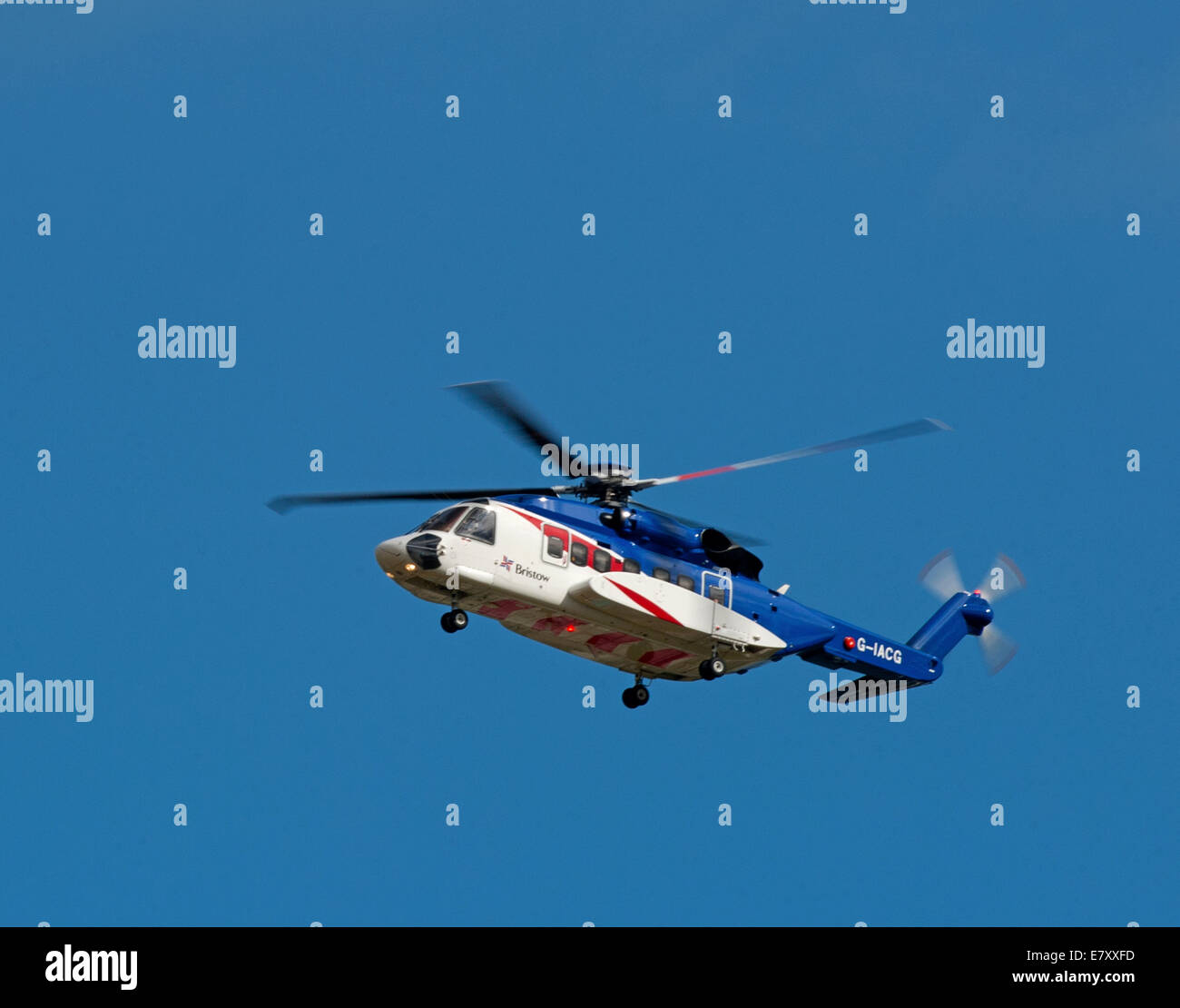 Sikorsky S92A helicopter operated by Bristow out of Aberdeen Dyce airport for Oil Field Worker Transfers. - Stock Image