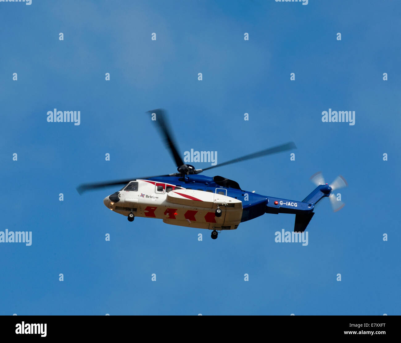 Sikorsky S92A helicopter operated by Bristow out of Aberdeen Dyce airport for Oil Field Worker Transfers. Stock Photo