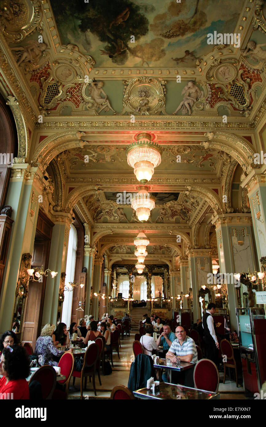 Interior of the Cafe New York, Budapest, Hungary - Stock Image