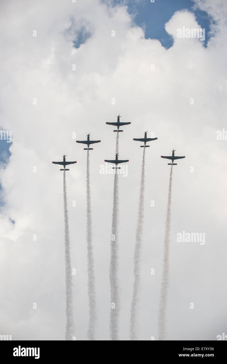 PZL-130 Orlik turboprop single engine two seat trainer planes during military parade marking Polish Armed Forces - Stock Image